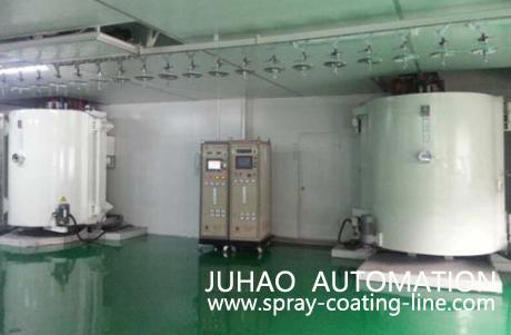 Automatic uv spraying line and vacuum coating system